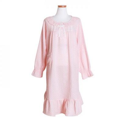 200262 여자원피스 원피즈잠옷 이중지면 잠옷 가을잠옷 긴팔잠옷