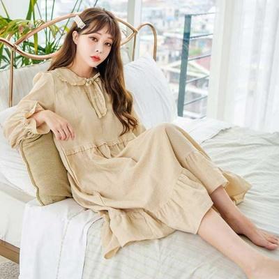 200304 여자잠옷 원피스잠옷 이중지면 잠옷 가을잠옷 긴팔잠옷