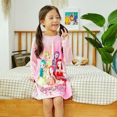 100738 아동잠옷 여자아이 홈웨어 시크릿쥬쥬 긴팔 피치 원피스