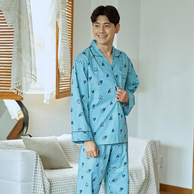100754 남자잠옷 면 긴팔 주자면 홈웨어 파자마 상하세트