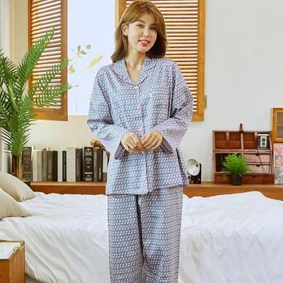 100760 여자잠옷 면 긴팔 주자면 카라형 홈웨어 파자마 상하세트