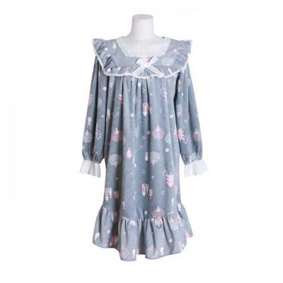 200400 여자원피스 원피스잠옷 극세사원피스 여성잠옷 긴팔잠옷