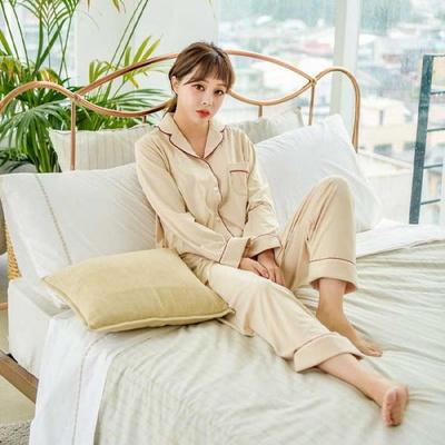 200379 여자잠옷 잠옷상하세트 스판투피스 잠옷 여성잠옷 긴팔