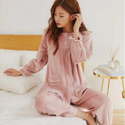 200370 여자잠옷 잠옷상하세트 스판 양면 극세사 여성잠옷 긴팔