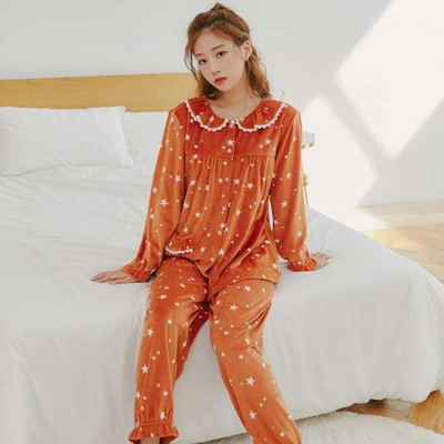 200368 여자잠옷 잠옷상하세트 스판 양면 극세사 여성잠옷 긴팔