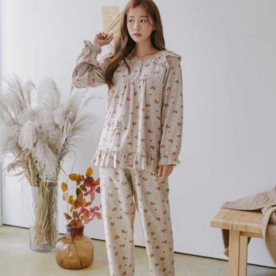 200366 여자잠옷 잠옷상하세트 면 잠옷 여성잠옷 긴팔잠옷