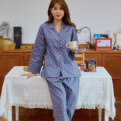 100938 여자 카라형 면 트윌면 면잠옷 긴팔 상하세트 파자마