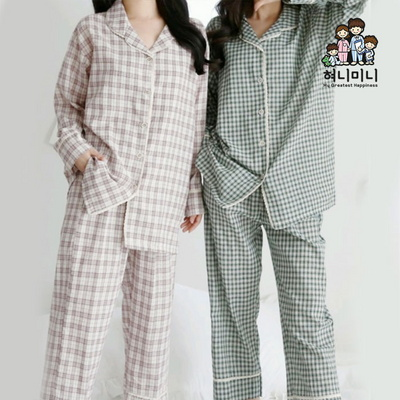 101054 여자 잠옷 체크 면 긴팔 파자마세트