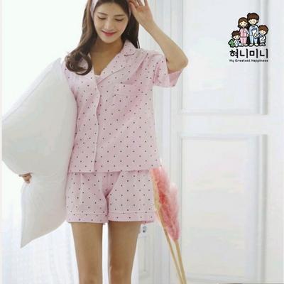 101053 여자 잠옷 도트 반팔 반바지 여름 파자마 상하세트