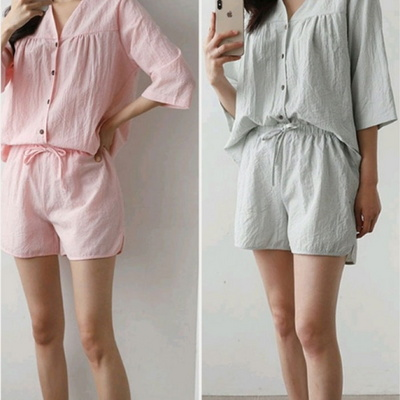 101052 여자 잠옷 체크 반팔 반바지 여름 파자마 상하세트 면