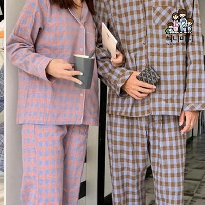 101051 여자 남자 잠옷 체크  상하세트 커플 긴팔 파자마