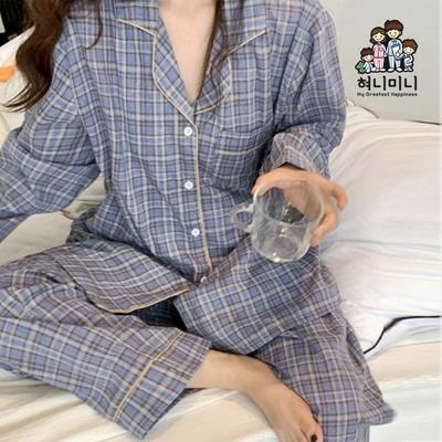 101050 여자 남자 잠옷 체크 상하세트 커플 긴팔 파자마