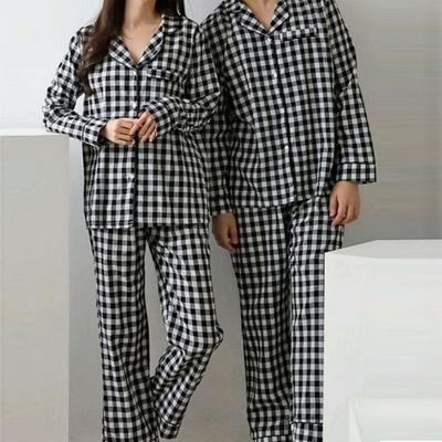 101048 여자 남자 잠옷 체크 면  상하세트 커플 긴팔 파자마