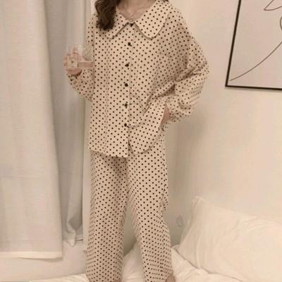 [혀니미니] 101065 여자잠옷 긴팔 파자마세트 실내복 면 사계절 잠옷