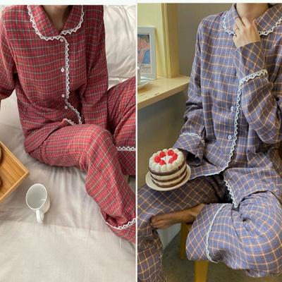 [혀니미니] 101061 여자잠옷 체크 긴팔 파자마세트 파자마 기모 겨울
