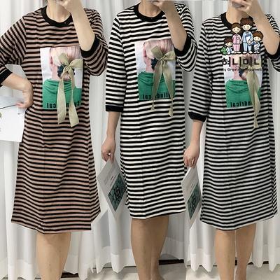 101145 여자 잠옷 원피스 파자마 홈웨어 면 다이마루 원피스잠옷
