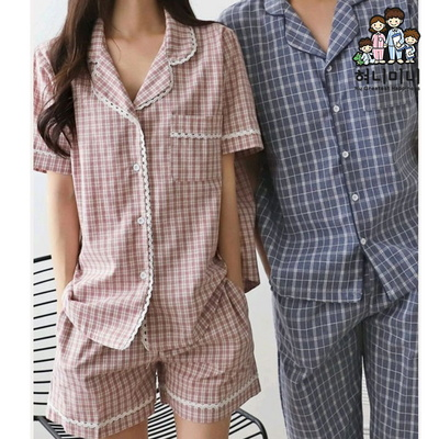101278 남자잠옷 여자잠옷 커플잠옷 상하세트 반팔 반바지 여름잠옷 파자마
