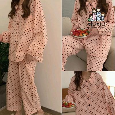 400007 여자잠옷 여자 잠옷 긴팔 땡땡이 면 잠옷 상하세트 파자마