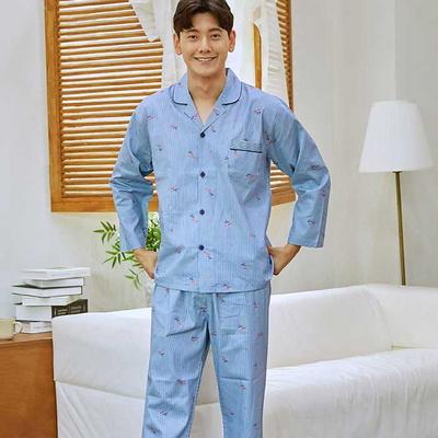 300023 남자잠옷 잠옷 트윌면 긴팔 상하세트 잠옷 파자마 면잠옷