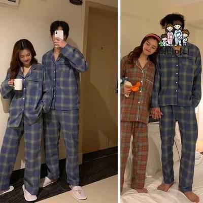 400126 여자잠옷 남자잠옷 잠옷 커플 상하세트 체크 긴팔잠옷