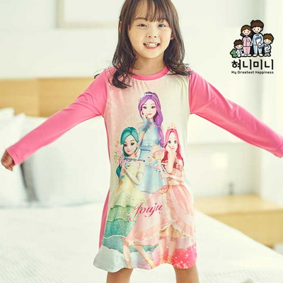 600093 아동잠옷 여자 긴팔 잠옷 파자마 피치기모 원피스 시크릿쥬쥬