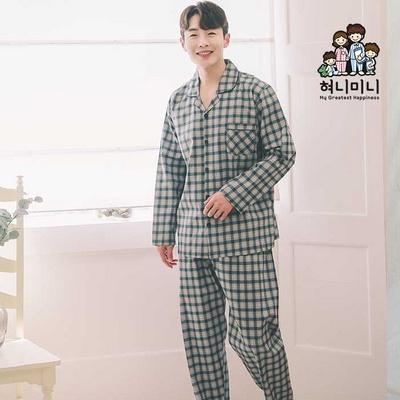 300035 남자잠옷 긴팔 면 잠옷 파자마 상하세트 홈웨어 국내생산
