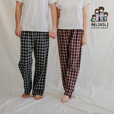 800122 남자 여자 다이마루 잠옷바지 9부 면 기모 커플 파자마 잠옷