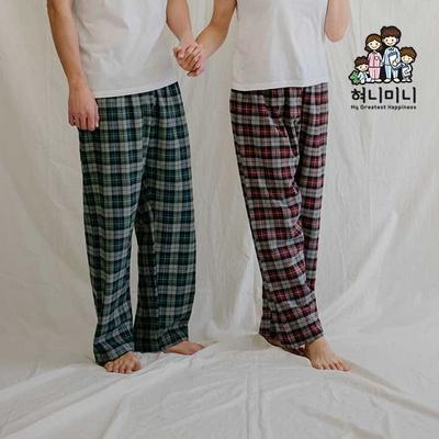 800121 남자 여자 다이마루 잠옷바지 9부 면 기모 커플 파자마 잠옷