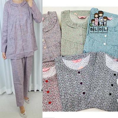 400183 여자잠옷 순면 긴팔잠옷 파자마 상하세트 잠옷 면 국내생산