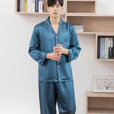 201180 남자잠옷 잠옷세트 로얄실크 폴리 잠옷 긴팔잠옷 파자마