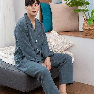 201175 남자잠옷 잠옷세트 거즈면 도비 면 잠옷 긴팔잠옷 파자마
