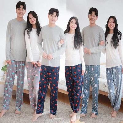 800146 남자 여자 잠옷 커플 수면바지 수면잠옷 울트라 겨울잠옷