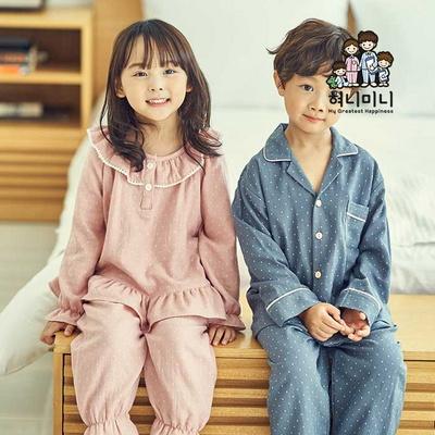 600116 남자 여자 아동잠옷 면 국내생산 긴팔 상하세트 초등학생