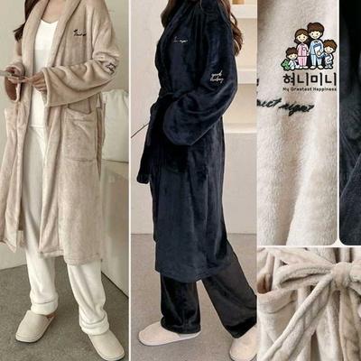 400226 여자잠옷 남자잠옷 잠옷 수면가운 로브 수면잠옷 겨울잠옷