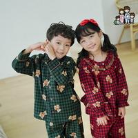 600211 아동잠옷 여자 남자 면 기모 잠옷 홈웨어 파자마 초등학생잠옷