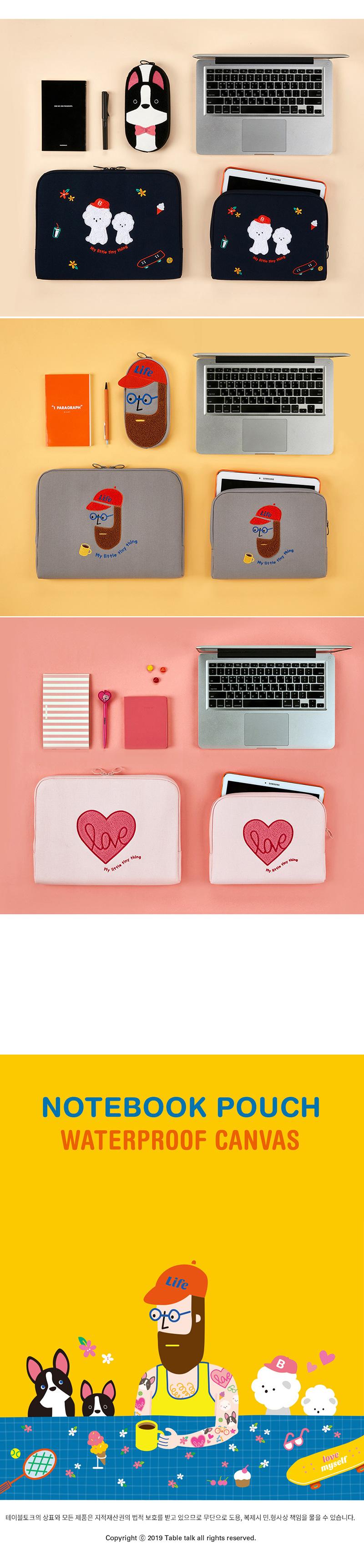 노트북 파우치 방수캔버스_부클 비숑 (아이패드. 13. 15) - 안테나샵, 25,500원, 노트북 케이스/파우치, 27.94cm~33.78cm
