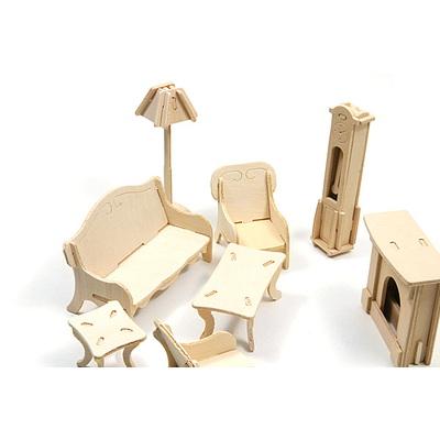 DIY나무조립모형인형가구거실세트