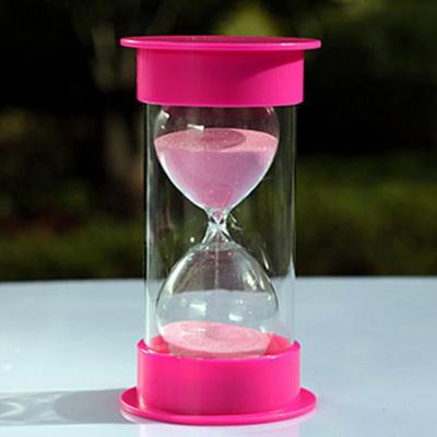 안전한 플라스틱 통아크릴 모래시계(핑크)-15분용