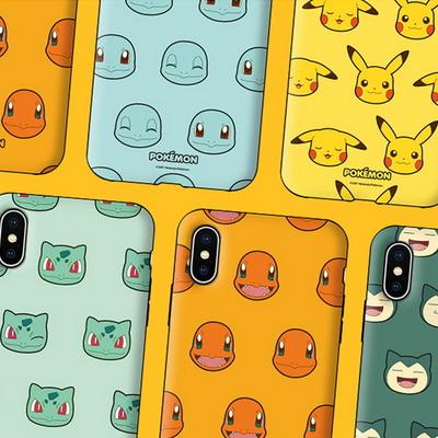 코쿼드 포켓몬스터 페이스 패턴 아머 범퍼 케이스 휴대폰 핸드폰 커버