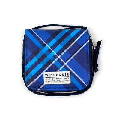 블루 체크 목걸이지갑 초등학생 어린이 지갑