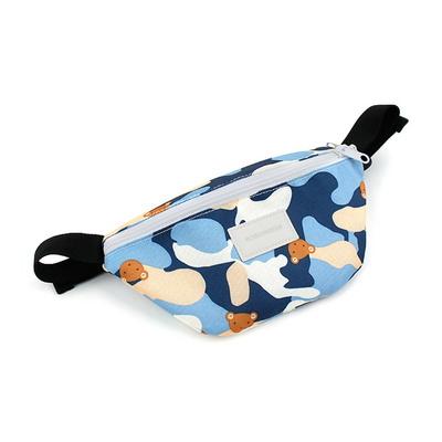 모모 카모 네이비 타이니 힙색 곰돌이 캐릭터 가방