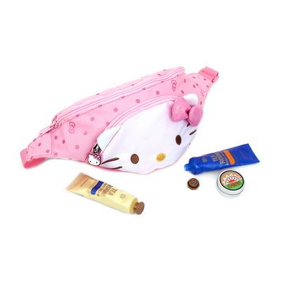 헬로키티 얼굴 힙색 핑크색 고양이 가방 크로스백