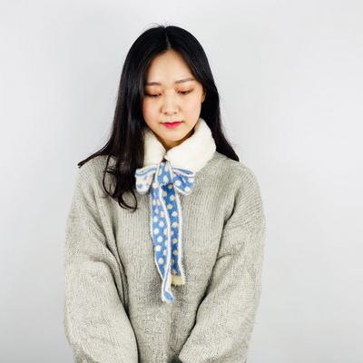 쁘띠 퍼 트윌리 머플러 털 겨울 여성 숏 밍크 목도리