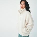 프로젝트624 (UNISEX) 오버핏 양털 후리스 아노락 점퍼 아이보리