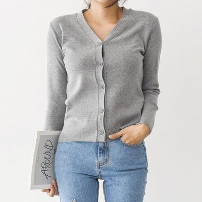 이지앤심플 브이넥 니트 가디건(knit536)