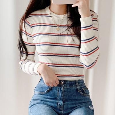 패셔니스타 스트라이프 골지 티셔츠(knit538)