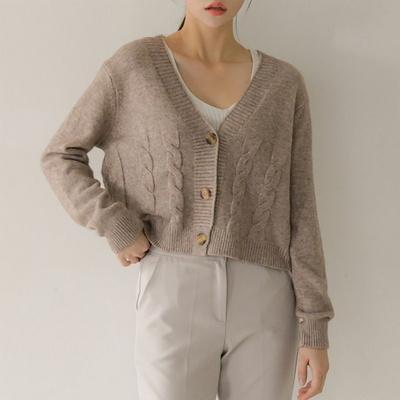 마이너 빅버튼 브이넥 니트 가디건(knit565)