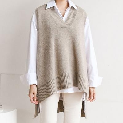 돋보이는 브이넥 루즈핏 니트 베스트(knit591)