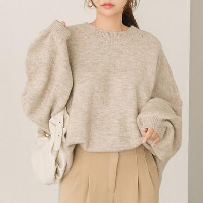 콜드브루 벌룬소매 루즈핏 라운드 니트(knit594)