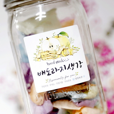 No.60 배도라지생강 과일청 수제청 스티커 (10매)